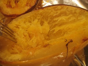Cut a squash in half, brush the insides with olive oil, and put them face-down in a foil-lined pan for about an hour at 375 degrees. Wait until it cools, and scoop it out, or if it's a spaghetti squash, rake it with a fork.