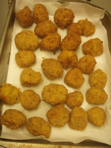 "Squash croquettes. ""You could drop those on the floor and I'd still eat them."" ""They're kinda lopsided. Nice ball handling skills, boys."" I love working with a bunch of guys."